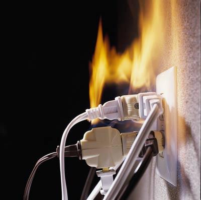 plugs on fire